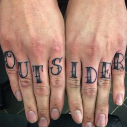 outsider knuckle tattoos